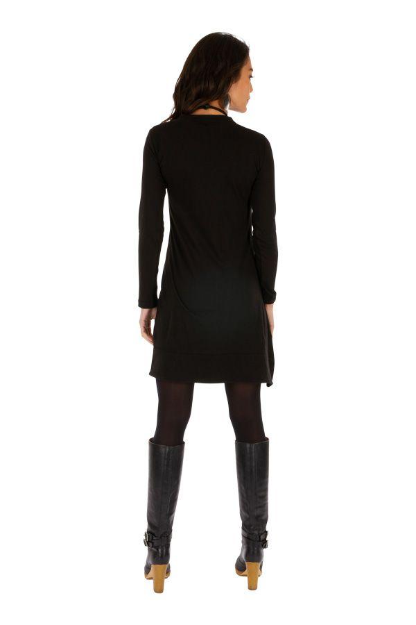 Robe noire de soirée originale chic ethnique avec imprimés Monia 313314