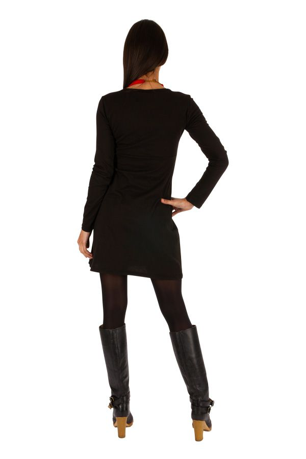 Robe noire du Népal à manches longues idéale hiver Guiglo 314031