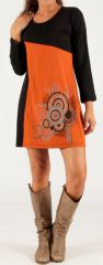 Robe Noire et Orange à manches longues Ethnique et Graphique Miva 279729
