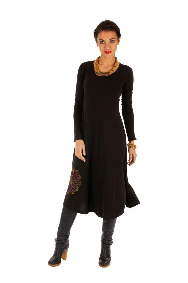 Robe noire évasée à manches longues et ethnique Alindao 313872