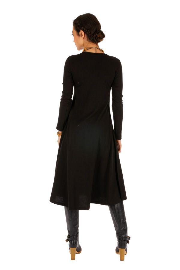 Robe noire évasée à manches longues et ethnique Alindao 313873