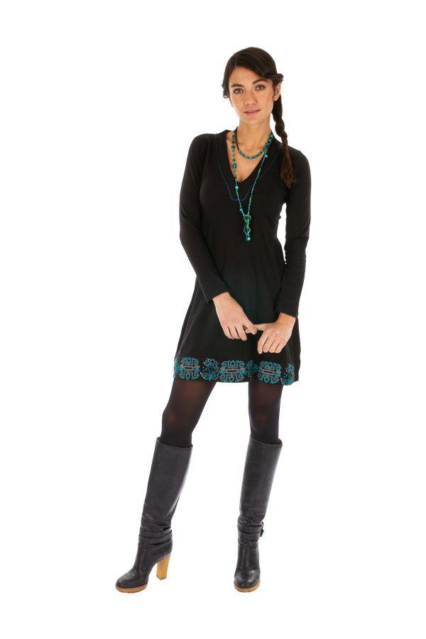 Robe noire femme tendance et chic ethnique pas cher Monia 313359