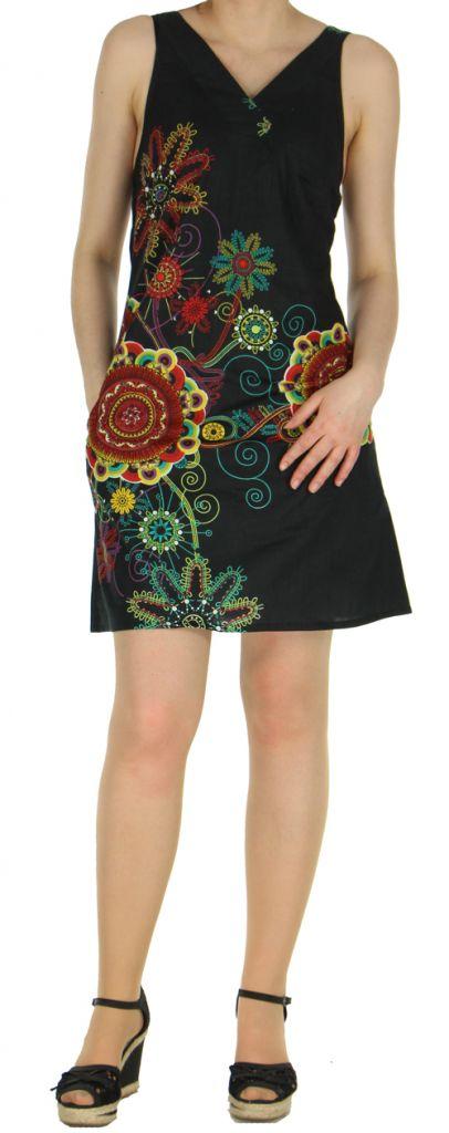 Robe noire imprimée tendance en coton d'Inde Desik 270498