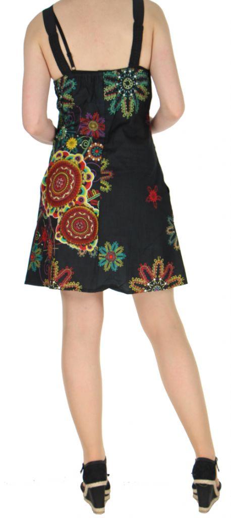 Robe noire imprimée tendance en coton d\'Inde Desik