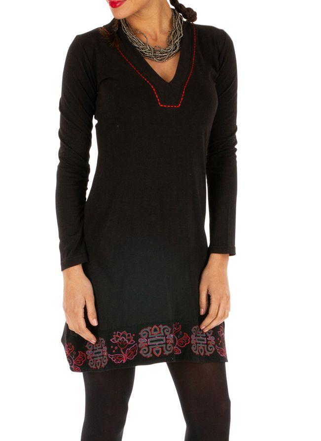Robe noire pas cher en coton avec imprimés pour soirée chic Monia 313344