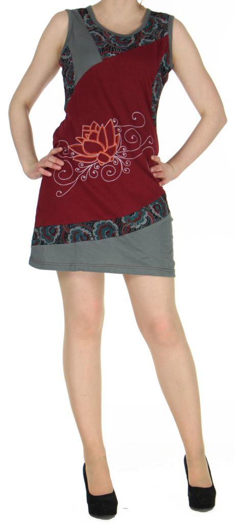Robe originale bordeaux ethnique du Népal pas chère Mariona 270478