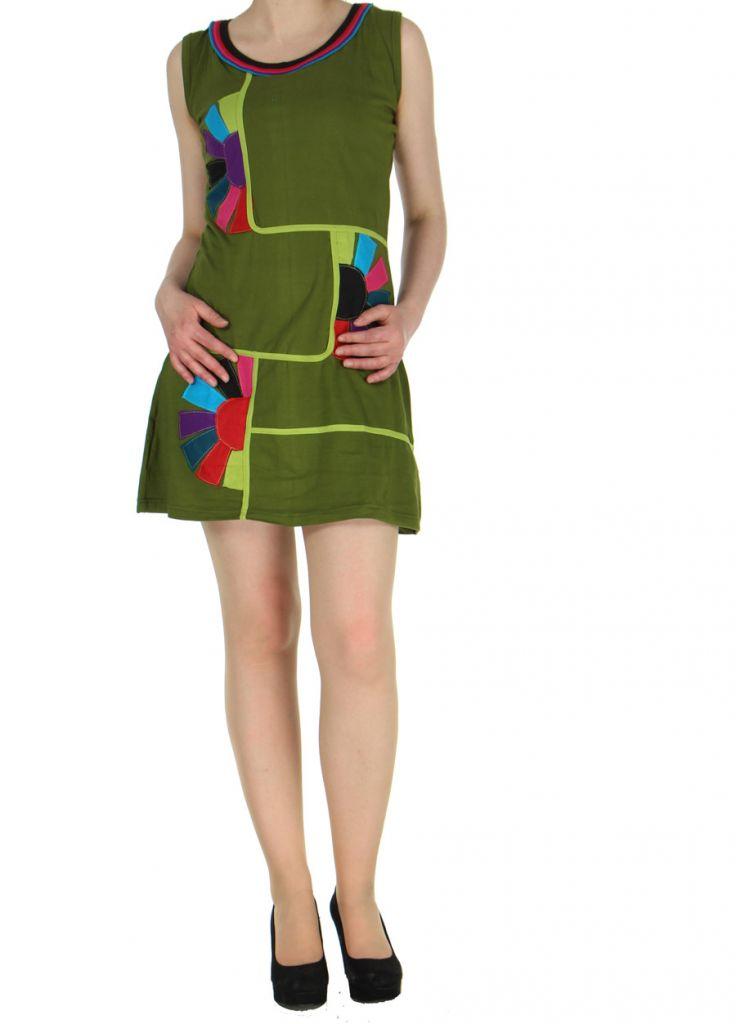 Robe originale colorée kaki Kélina 268483