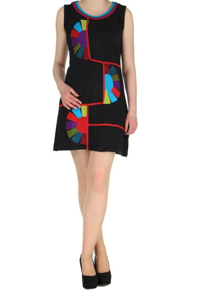 Robe originale colorée noire Kélina 268479