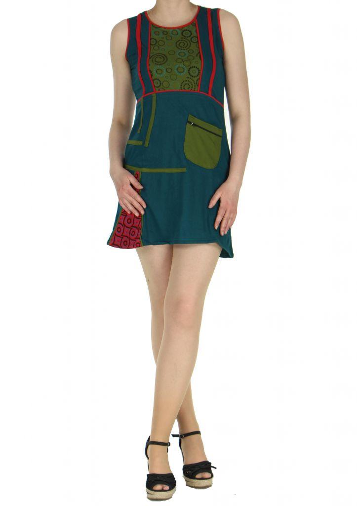 Robe originale courte bleue Tania 268363