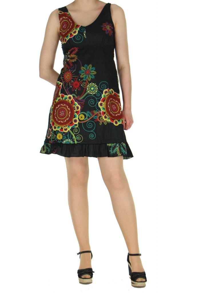 Robe originale d'été noire Elodie 268239