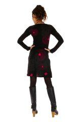 Robe originale d'hiver à fond noir et imprimée Angeles 312669