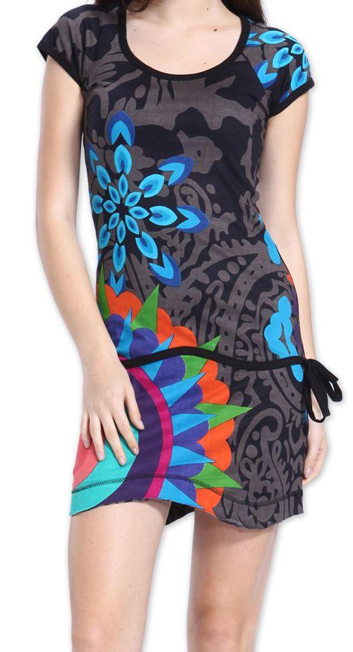 Robe Originale et Colorée à manches courtes Adellia Grise 276480