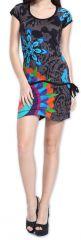 Robe Originale et Colorée à manches courtes Adellia Grise 276481