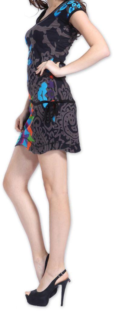 Robe Originale et Colorée à manches courtes Adellia Grise 276482