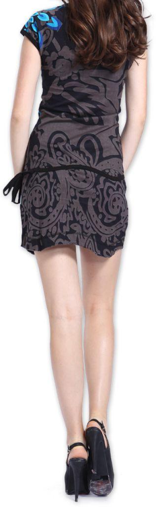 Robe Originale et Colorée à manches courtes Adellia Grise 276483