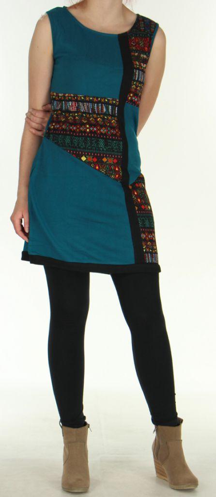 Robe Originale et Colorée en maille sans manches Tatiana Emeraude 276411