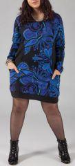 Robe Originale et Colorée pour femme Pulpeuse Halima Bleue et Noire 274773