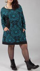 Robe Originale et Colorée pour femme Pulpeuse Halima Turquoise 274772