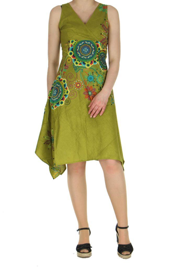 Robe originale florale kaki Lisandre 269970