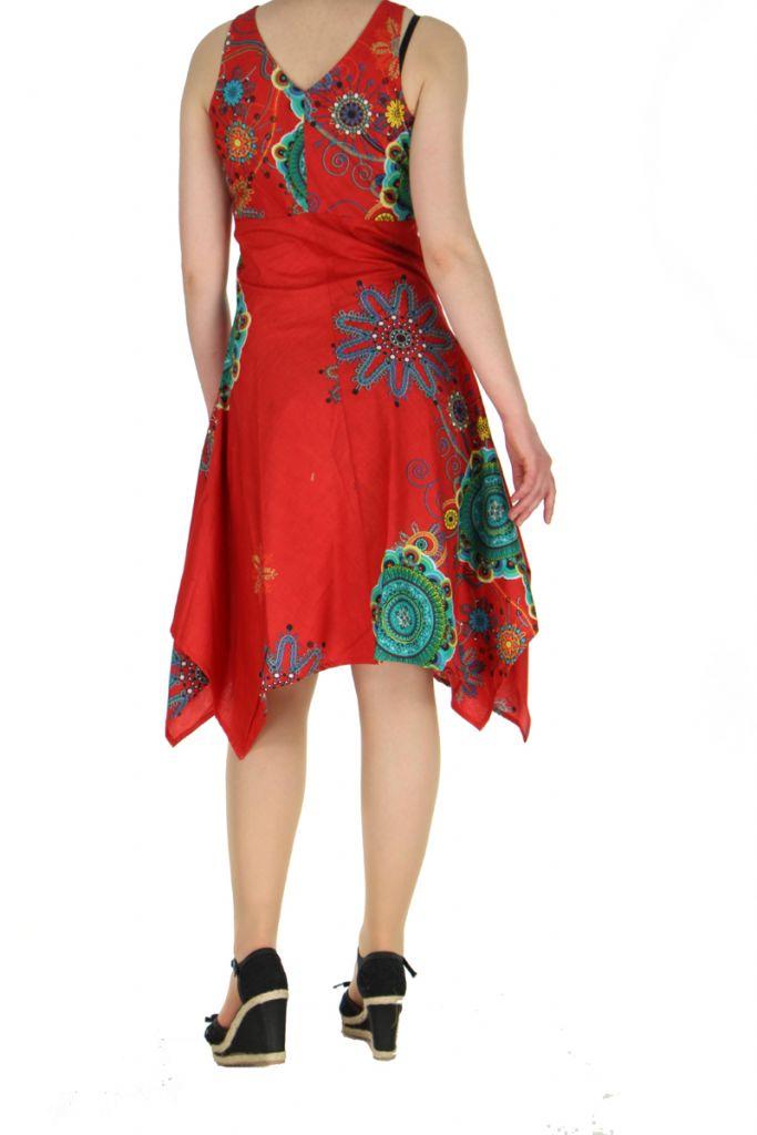 Robe originale florale rouge Lisandre 269990