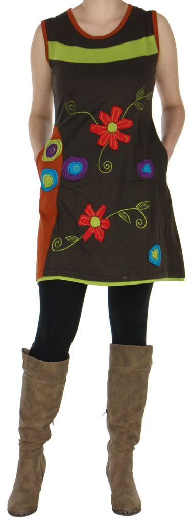 Robe ou Tunique colorée et originale Marron Flora 272737