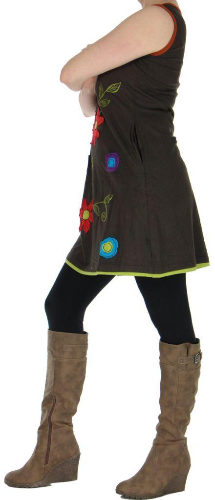 Robe ou Tunique colorée et originale Marron Flora 272740