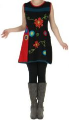 Robe ou Tunique colorée et originale Noire à col Rouge  Flora 272729