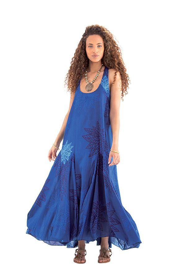 robe longue d ete sans manches originale et ample cristou bleue. Black Bedroom Furniture Sets. Home Design Ideas
