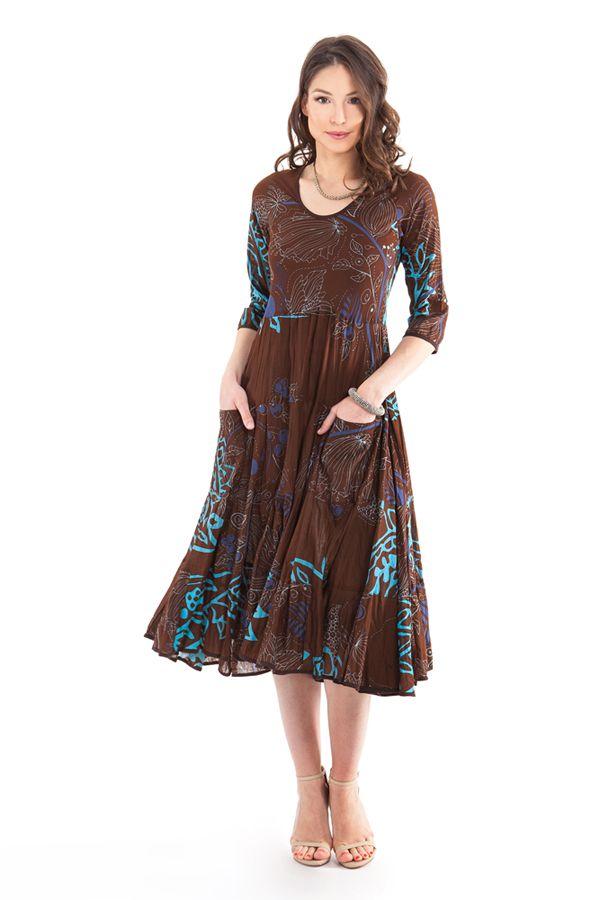 robe mi longue pour l ete ethnique et imprimee malika marron. Black Bedroom Furniture Sets. Home Design Ideas