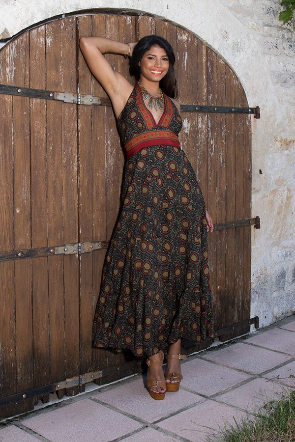 robe polyestère ultra féminine avec un joli col pigeonnant kaki Valkirye 289689