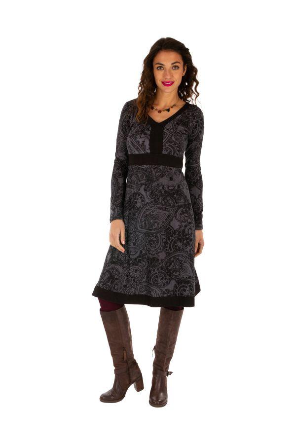 Robe pour femme à manches longues et col en V Béatrice 312644