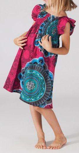 Robe pour fille d'été Colorée et Ethnique Abaya Rose 277321
