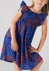 Robe pour fille d'�t� Ethnique et Color�e Abaya Bleue 277314