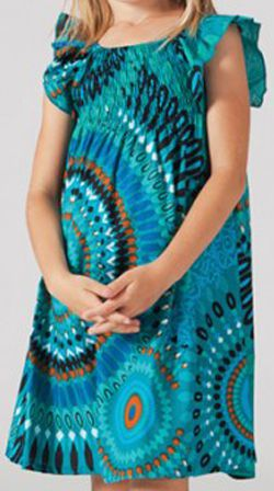 Robe pour fille d'été Ethnique et Colorée Abaya Turquoise 277310