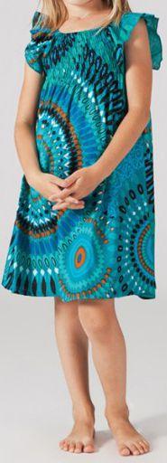 Robe pour fille d'été Ethnique et Colorée Abaya Turquoise 277311