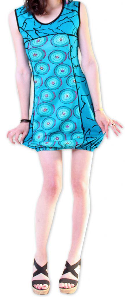 Robe pour l'été courte pour l'été Originale et Imprimée Dounnia Bleue 276914