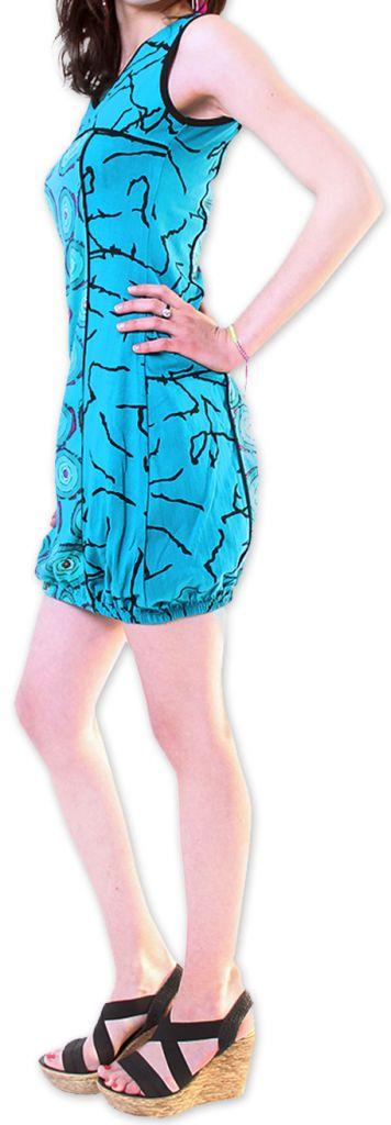 Robe pour l'été courte pour l'été Originale et Imprimée Dounnia Bleue 276915