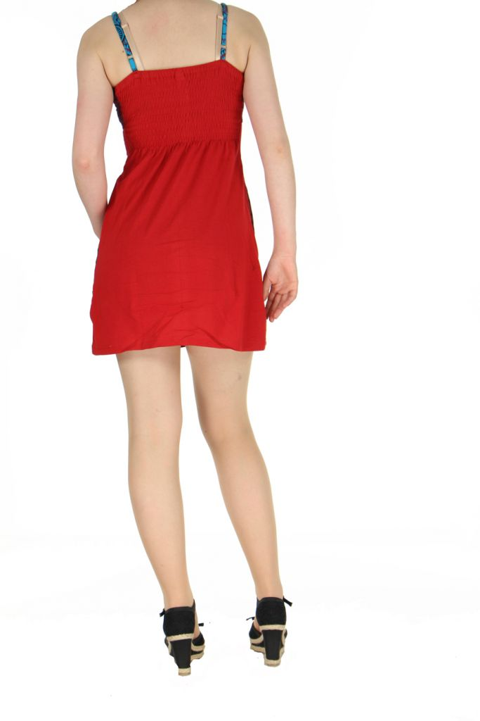 Robe rouge courte à dos-nu Clara 268771