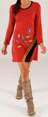 Robe rouge courte à manches longues Ethnique et Colorée Capri 279700