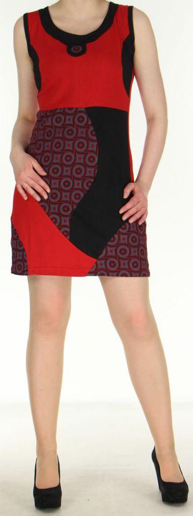 Robe rouge courte colorée et ethnique en coton Dejame 270715