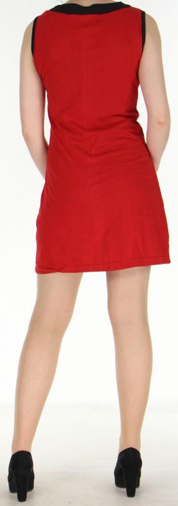 Robe rouge courte colorée et ethnique en coton Dejame 270716