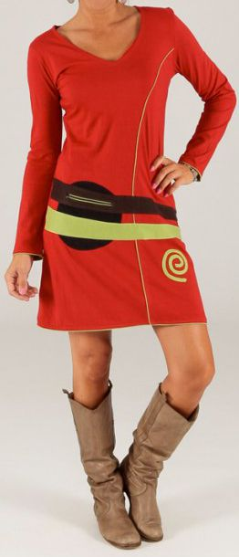 Robe rouge d'hiver à manches longues Hippie Chic Garigue 279676
