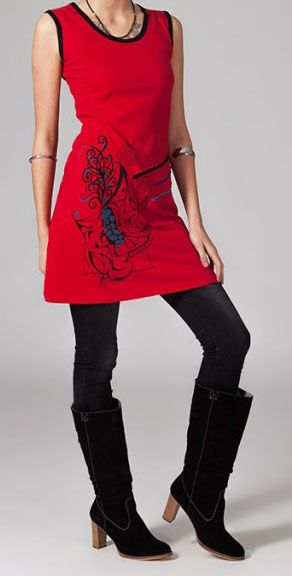 Robe rouge ethnique Safia 269230