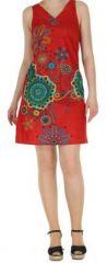 Robe rouge imprimée tendance en coton d'Inde Desik 270492