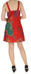 Robe rouge imprimée tendance en coton d\'Inde Desik