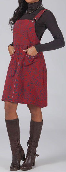 Robe salopette rouge pour l\'hiver pas chère et orginale Mathilde