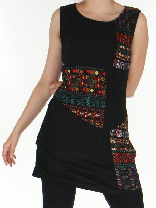 Robe sans manches en maille Originale et Colorée Tatiana Noire 276407