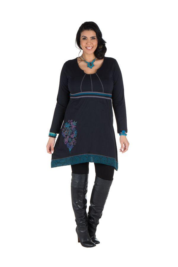 Robe size plus courte à manches longues Bleue asymétrique à col rond Harry 301666
