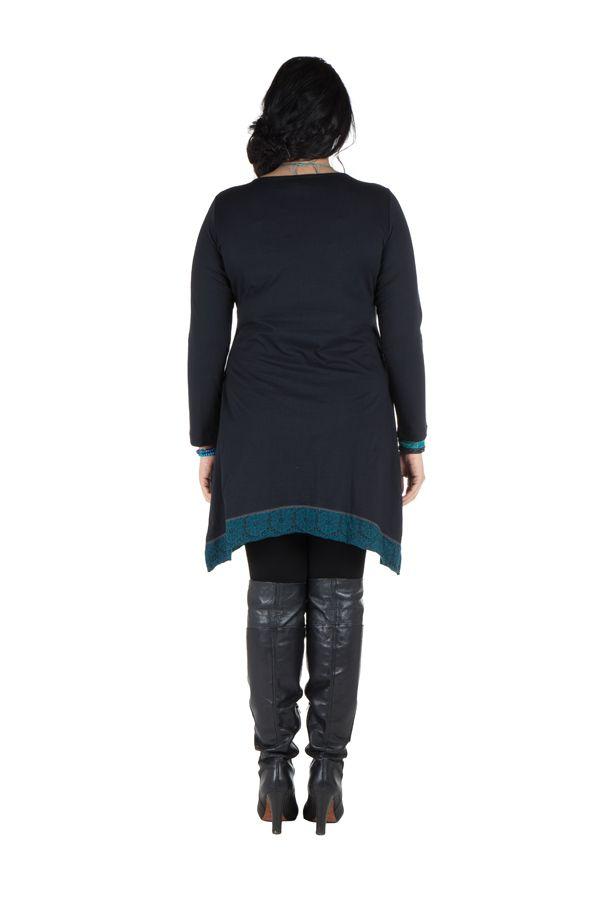 Robe size plus courte à manches longues Bleue asymétrique à col rond Harry