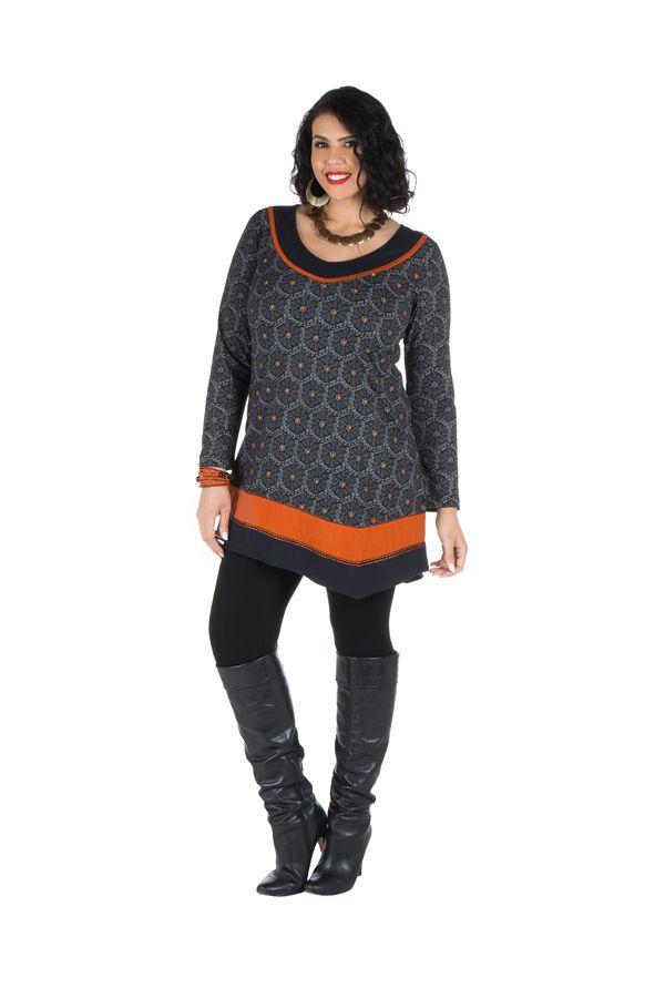 Robe size plus courte à manches longues Orange asymétrique avec détails brodés Nessy 301698